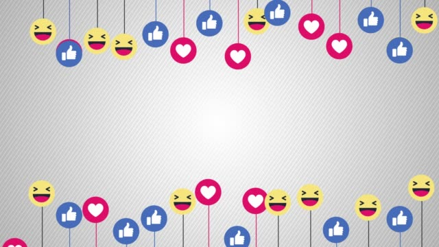social-media-emoticons hintergrund - social media icons stock-videos und b-roll-filmmaterial
