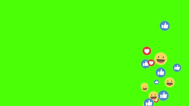 sociala medier facebook ny stil live react emotion ikon animerade stött på grön skärm kommer från botten till ovan skärm - sociala frågor bildbanksvideor och videomaterial från bakom kulisserna