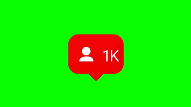 Social media follow icon. increasing follow. Animation 1000 1k follow icon. chroma key. alpha matte channel.