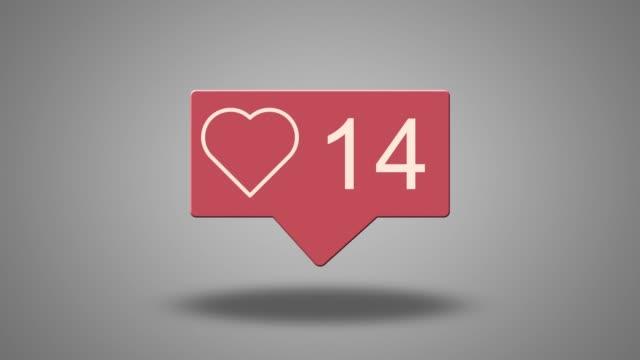 social media heart counter - adulazione video stock e b–roll