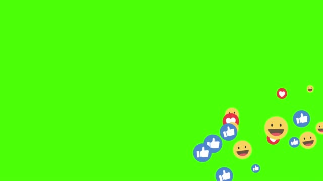 kyiv, ukraine - august 27, 2019: social media icon facebook live style animated come across on green screen - emoji video stock e b–roll