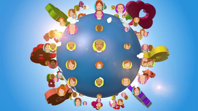 ソーシャルメディアのアイコンとアバター、世界中の人々の軌道を回る - community activism点の映像素材/bロール