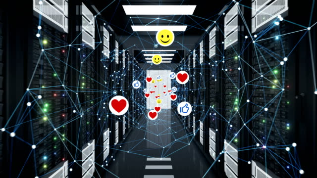 Social Media Icons Moving mit Network Grid in Server Room Seamless. Smiles, Thumbs up and Hearts Symbols in Data Center Looped 3d Animation. – Video