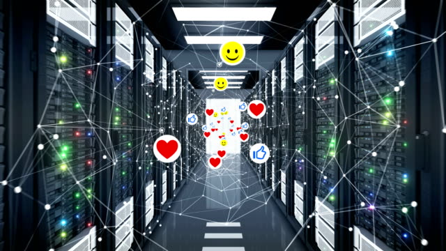 social media icons network grid tunnel unter computers seamless. lächelt, thumbs up und hearts symbols und server looped 3d animation. - social media icons stock-videos und b-roll-filmmaterial