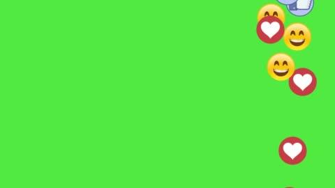 vídeos y material grabado en eventos de stock de iconos social media sonrían dedos y corazones sobre fondo de chromakey pantalla verde - temas sociales