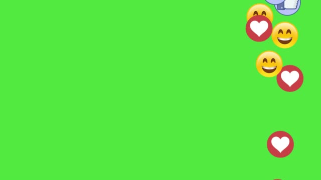 social media icons smile fingers and hearts on green screen chromakey background - social media стоковые видео и кадры b-roll