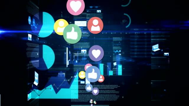 icone dei social media con codici di programma 4k - fidanzati video stock e b–roll