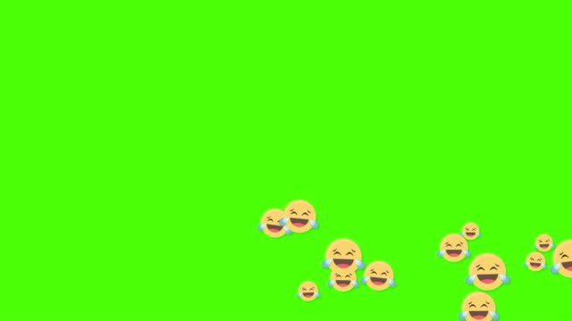 Social media laughing icons animated come across on green screen