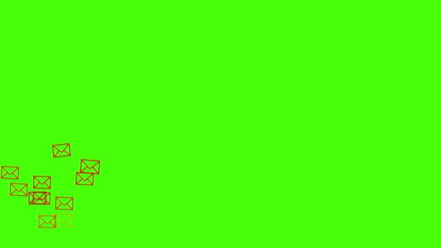 vídeos de stock, filmes e b-roll de a animação social dos media do letterbox (envelope postal) dos ícones levanta-se da parte inferior à parte superior na tela verde. bom para o conceito de marketing ou fundo de vídeo curto para as redes sociais história. - acessibilidade