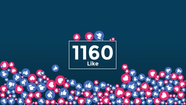 social media like icons falling on screen + alpha matte - icona dei social network video stock e b–roll