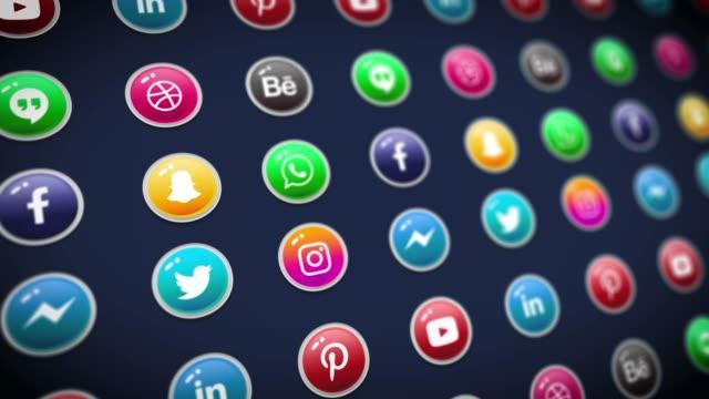 Social Media Logo Compilation Animation. Social Media Background, Social Network, Marketing.