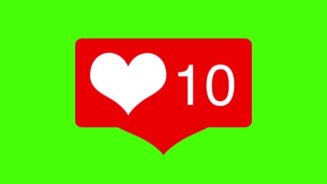 animazione icona contatore love hearts sui social media con battito cardiaco sullo schermo verde. buono per il concetto di marketing o il breve background video per la storia dei social network. - icona mi piace video stock e b–roll