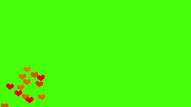 l'animazione delle icone di love hearts sui social media sale dal basso verso l'alto sullo schermo verde. buono per il concetto di marketing o il breve background video per la storia dei social network. - icona mi piace video stock e b–roll
