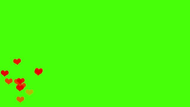 social media love hearts icons animation steigen von unten nach oben auf dem grünen bildschirm. gut für marketing-konzept oder kurzen video-hintergrund für soziale netzwerke geschichte. - valentinstags karte stock-videos und b-roll-filmmaterial