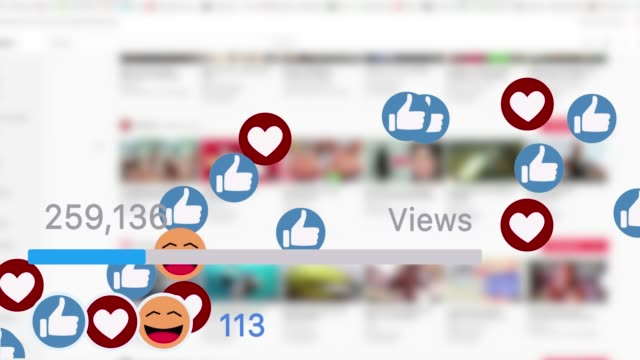 Social media progress bar quickly increasing to one million views with heart shaped icons and smileys