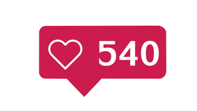 social media red heart counter,  on a white background with alpha matte - icona mi piace video stock e b–roll