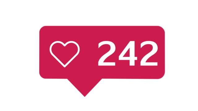 stockvideo's en b-roll-footage met sociale media rood hart teller - bewondering
