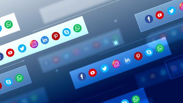 4k social media, social network, geometric background (loopable) - icona dei social network video stock e b–roll