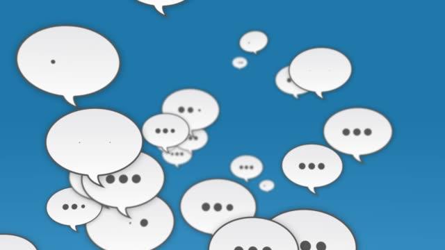 Social Media Speech Bubbles Flying To Camera