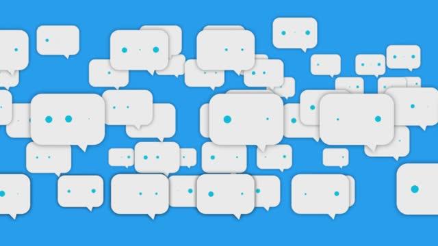 Social Media Speech Bubbles Flying To Left