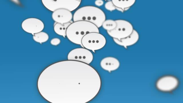 Social Media Speech Bubbles Flying Up