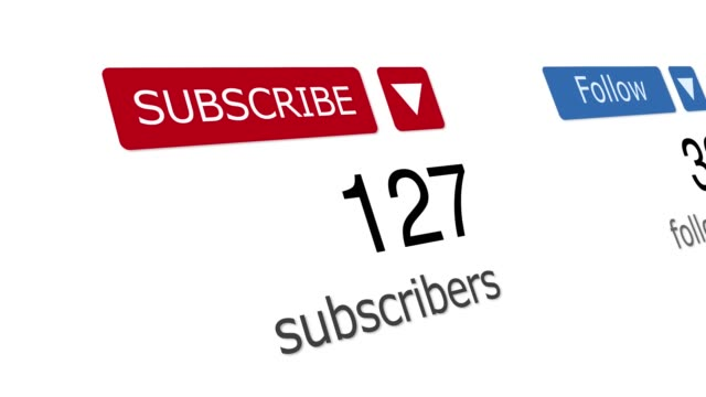 Social media subscribers and followers counters for illustrative or marketing concept 3D close up of Social media subscribers and followers counters on the website. Can be used for marketing or business concept. Good as illustrative for news or social media and other web resources. following moving activity stock videos & royalty-free footage