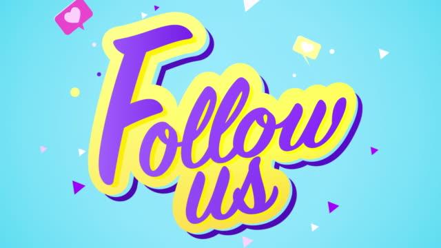 Social media text animation ,Follow us.