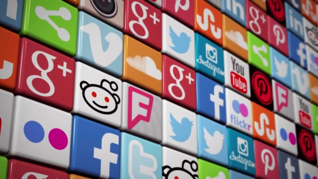 Social Media Wall icons animation Facebook Twitter YouTube Instagram pinterest