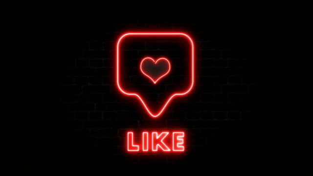 Social media With Neon Like Sign On The Wall Like, post, heart, notification, like button, neon sign, social media email icon stock videos & royalty-free footage