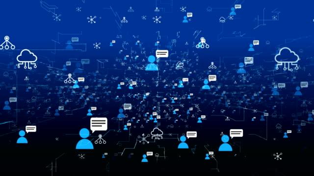 Social network and Media Fly trough Loop 4K