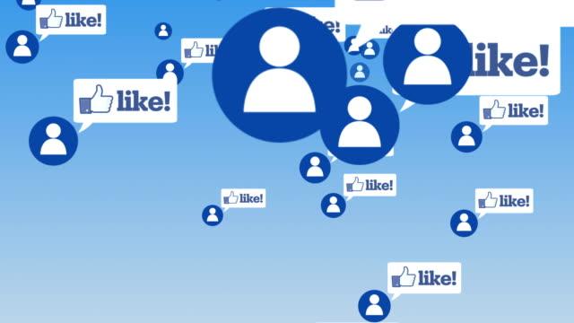 social network and media fly trough - icona mi piace video stock e b–roll