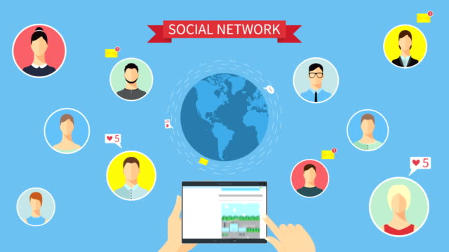 Social network concept animation Hands holding a tablet and choosing social network pages.  Around Earth flying email messages,