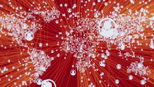 vídeos y material grabado en eventos de stock de conexiones de redes sociales con el mapa del mundo - juntar los puntos