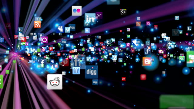Social Network Icons fly, shine, black video