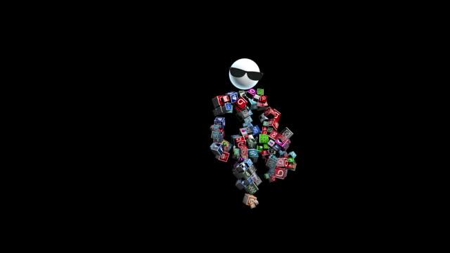 vídeos de stock, filmes e b-roll de ícones de rede social, engraçado personagem dançar swing, contra preto, laço - texto datilografado
