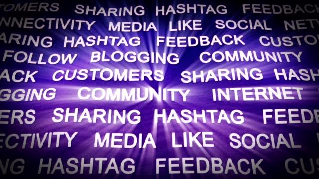 Social Network Keywords Animation, Rendering, Background, Loop video