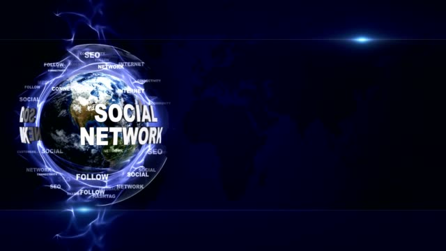 Social Network Text Animation around Earth, Background, Rendering, Loop
