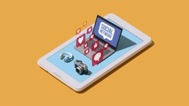 stockvideo's en b-roll-footage met sociale netwerken en communicatietechnologie - isometric