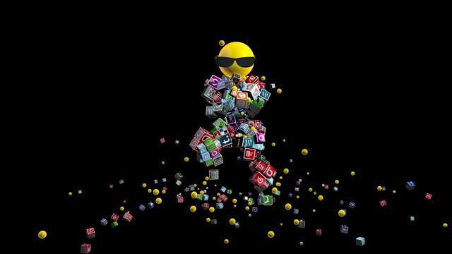 social networks dancing character against black - google стоковые видео и кадры b-roll