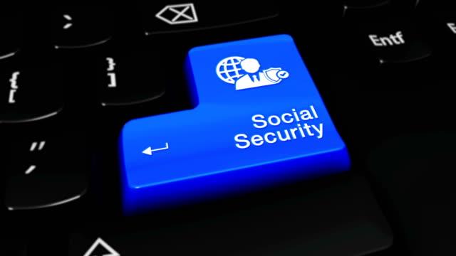 vídeos y material grabado en eventos de stock de seguridad social movimiento redondo en el botón del teclado del ordenador. - servicios sociales