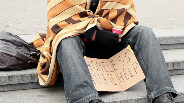Socially vulnerable lonely man asking for help and begging, poverty and sadness video