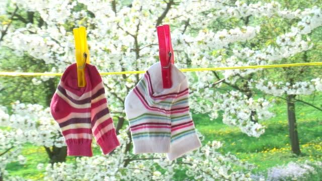 Socks of babies in springtime