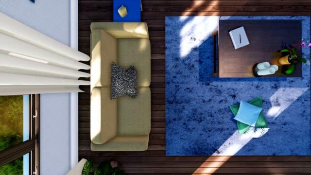 vídeos de stock e filmes b-roll de sofa and coffee table in modern living room interior top view 3d animation - coffee table