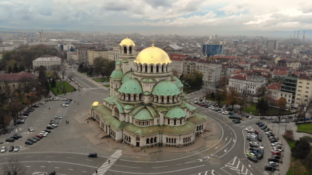 sofia bulgaria aerial city center videos - bułgaria filmów i materiałów b-roll