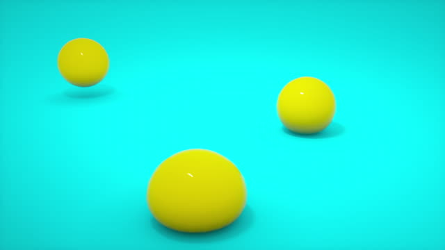 soft body yellow ball falling to blue floor background. gelatin jelly sphere ball bouncing. abstract and object concept. 3d render illustration. 4k footage video - sostanza gelatinosa video stock e b–roll