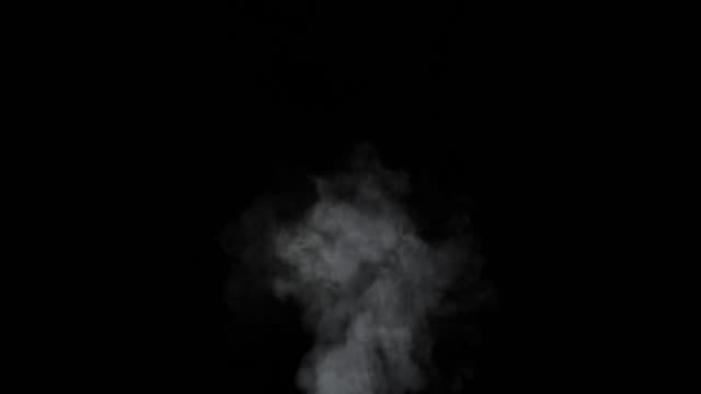 nebbia morbida al rallentatore su sfondo scuro. fumo grigio atmosferico realistico su sfondo nero. i fumi bianchi che galleggiano lentamente si alzano. nuvola di foschia astratta. effetto nebbia animazione. effetto flusso di fumo 4k - fumo materia video stock e b–roll