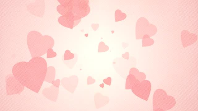 vídeos de stock, filmes e b-roll de suave simples corações de fundo vermelho loops x3-pastel - flutuando no ar