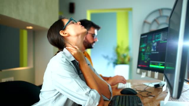 software developers routine - web designer video stock e b–roll
