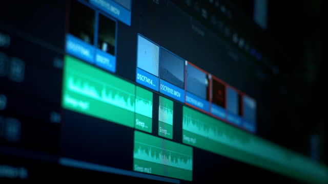 Video Software interface for editing video in film and television. Professional post production for photos and videos. Movie making.