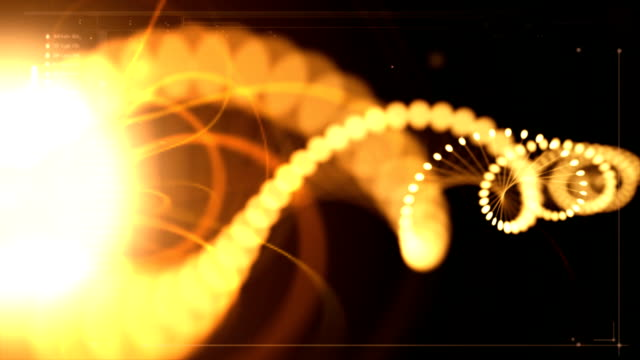 Solar DNA Activation Waves of bright lights activating DNA strands on black background. magnet stock videos & royalty-free footage